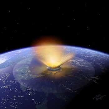 Artist's impression of a 6-mile-wide asteroid striking the Earth