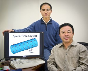 Xiang Zhang (seated) and Tongcang Li have proposed a way to make a four-dimensional space-time crystal